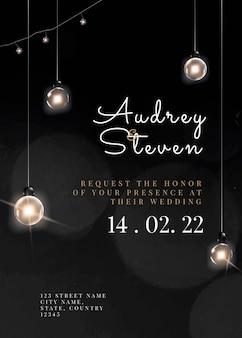Świąteczny szablon karty z zaproszeniem do edycji z pięknymi światłami smyczkowymi