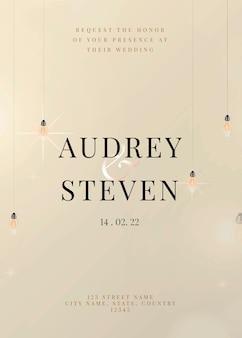 Świąteczny szablon karty z zaproszeniem do edycji z pięknymi wiszącymi światłami