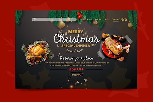 Świąteczny Szablon Strony Docelowej świątecznego Darmowych Wektorów