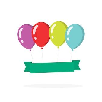 Świąteczny szablon transparent balony niespodzianka do kopiowania tekstu płaskiego cartoono