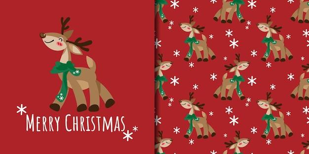 Świąteczny sztandar i wzór renifera noszą zielony szalik z płatkami śniegu na czerwonym tle