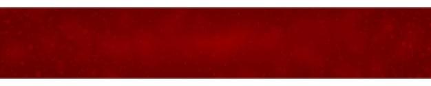 Świąteczny sztandar płatków śniegu o różnych kształtach, rozmiarach i przezroczystości na czerwonym tle