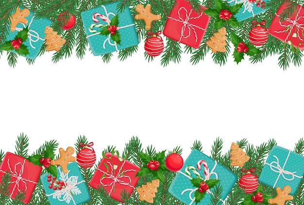 Świąteczny układ z prezentami, świątecznymi ciasteczkami i świąteczną ozdobą.