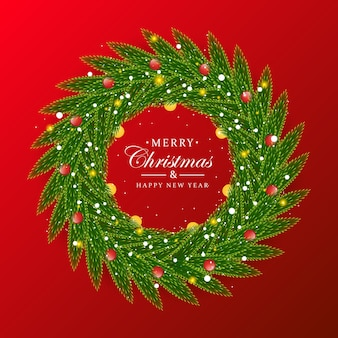 Świąteczny wieniec kwadratowy szablon transparentu z bożonarodzeniowym liściem realistyczny wygląd