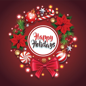 Świąteczny wieniec świąteczny z czerwoną kokardą i wstążką zdobiony wieniec z sosnowych gałęzi realistyczny wygląd