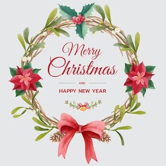 Świąteczny wieniec w stylu akwareli