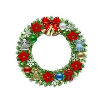 Świąteczny wieniec z czerwoną kokardą złote dzwonki i dekoracje