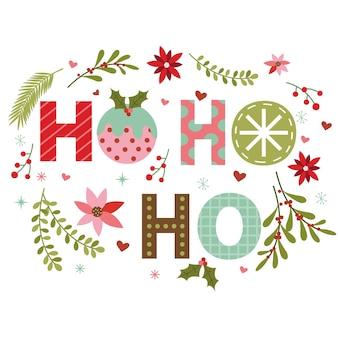 Świąteczny wieniec z dekoracją ho ho ho letter design