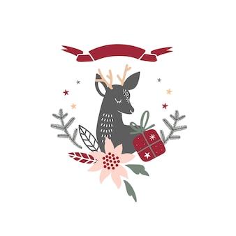 Świąteczny wieniec z ilustracją wektorową jelenia i transparentu