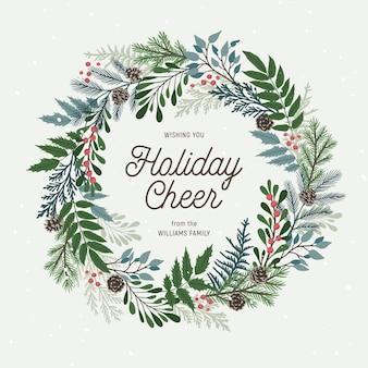 Świąteczny wieniec z jagód ostrokrzewu, jemioły, gałęzi sosny i jodły, szyszek, jagód jarzębiny. boże narodzenie i szczęśliwego nowego roku
