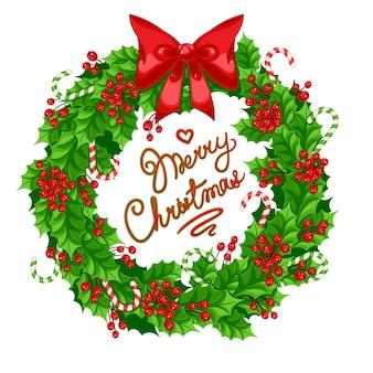 Świąteczny wieniec z ostrokrzewu