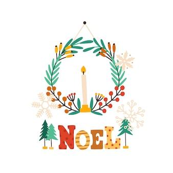 Świąteczny wieniec z płaską ilustracją świecy