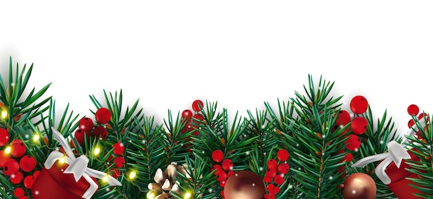 Świąteczny wystrój z gałązkami szyszki świeci czerwone jagody szyszka i prezent