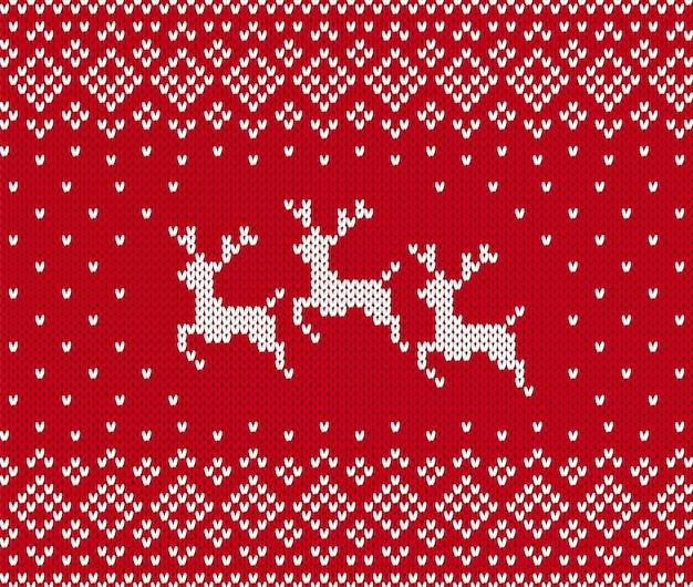Świąteczny wzór na drutach z reniferem. boże narodzenie bezszwowe tło. . sweter z dzianiny w print. wakacyjna zima czerwona tekstura. świąteczna tradycyjna ozdoba. wełniany skandynawski sweter ilustracja.