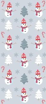 Świąteczny wzór z bałwanem, sosnami, płatkami śniegu i cukierkami.