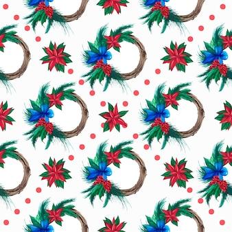 Świąteczny wzór z botanicznymi świątecznymi wieńcami