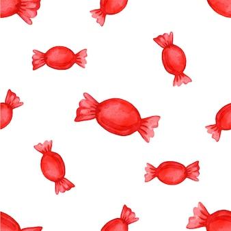 Świąteczny wzór z cukierkami w ilustracji wektorowych czerwone opakowanie