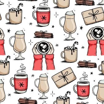 Świąteczny wzór z gorącym napojem zimowej kawy, herbaty, czekolady. ręcznie rysowane doodle styl szkic. kubek do picia, kubek z zimowym szalikiem. ilustracja wektorowa.