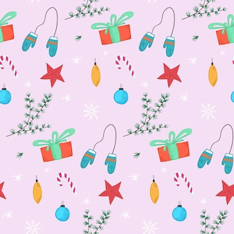 Świąteczny wzór z prezentami, piłkami i rękawiczkami