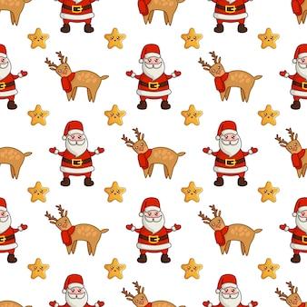 Świąteczny wzór z reniferami kawaii, uroczymi gwiazdami i mikołajem