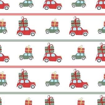 Świąteczny wzór z samochodami i prezentami ilustracja doskonale nadaje się do pakowania papieru