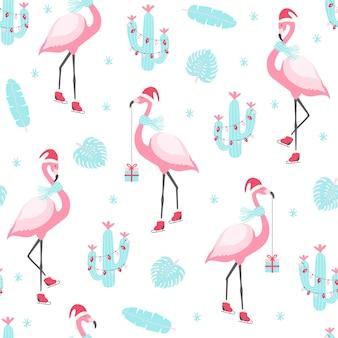 Świąteczny wzór z uroczym flamingiem na łyżwach. ilustratio