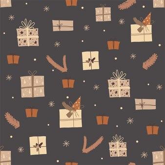Świąteczny wzór z uroczymi prezentami z gałęziami choinki