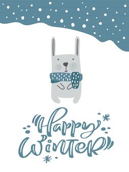 Świąteczny zając lub królik w skandynawskim stylu z kaligrafią happy winter