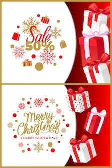 Świąteczny zestaw banner sprzedaży zimowe rabaty i pudełka