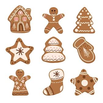 Świąteczny zestaw ciasteczek z piernika wektor piernikowy człowiek boże narodzenie jodła domek na drzewie gwiazda rękawiczka skarpeta