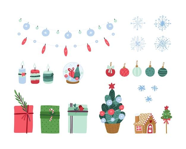 Świąteczny zestaw clipartów gingerbread house choinka świąteczna szklana kula