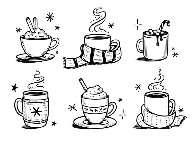 Świąteczny zestaw gorących napojów z zimowej kawy, herbaty. ręcznie rysowane styl szkicu. kubek do picia, kubek z zimowym szalikiem. ilustracja wektorowa.