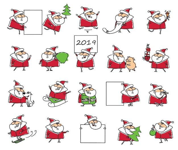 Świąteczny zestaw różnych mikołajów z bożonarodzeniowym symbolem roku prezentami, choinką, banerami i innymi w stylu kreskówki
