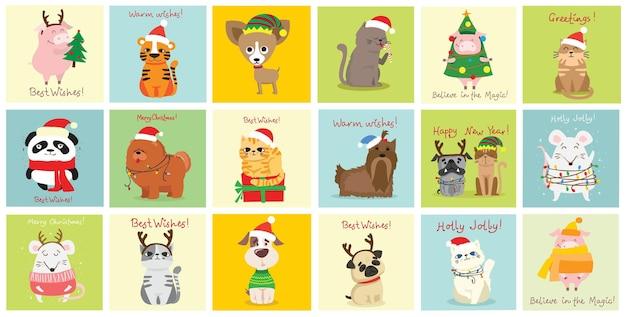 Świąteczny zestaw różnych zwierząt i świąteczny symbol roku tygrys, szczur, kot, pies z prezentami i inne