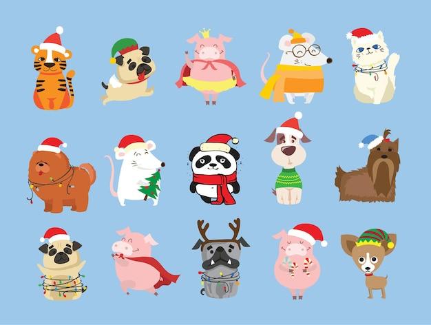 Świąteczny zestaw różnych zwierząt i świąteczny symbol roku tygrys szczur kot pies z prezentami i...