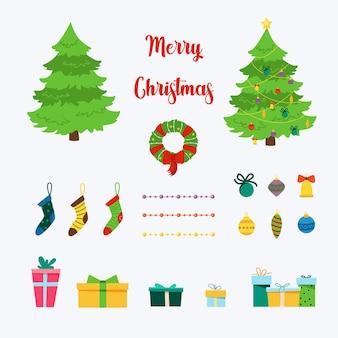 Świąteczny zestaw z dekoracyjnymi elementami zimowymi - pudełka na prezenty, girlandy, skarpetki, wieńce, choinki na białym tle. ilustracja wektorowa płaski w stylu cartoon.