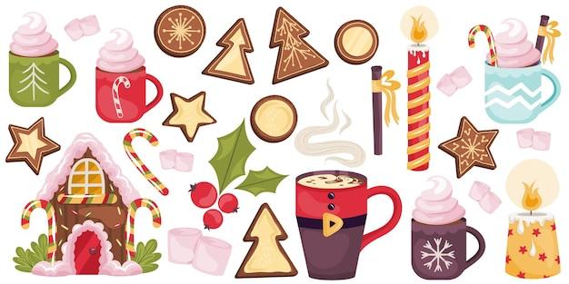 Świąteczny zestaw z napojami kakaowymi, ciasteczkami, piernikami, cukierkami. domek z piernika z karmelem i śmietaną, świecami i cynamonem. ilustracja wektorowa wystrój boże narodzenie.