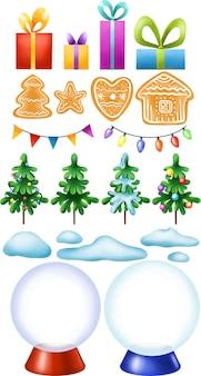 Świąteczny zestaw z piernikowymi jodłami, śniegiem i kulami śnieżnymi