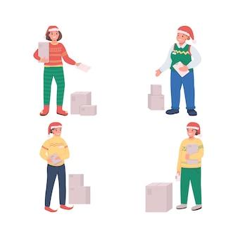 Świąteczny zestaw znaków płaski kolor dostawy. kurier w czapce świętego mikołaja. czas świąt. zamów przesyłkę izolowaną ilustrację kreskówki do projektowania grafiki internetowej i kolekcji animacji