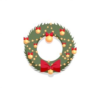 Świąteczny zielony wieniec ozdobiony czerwoną kokardą i złotymi kulkami