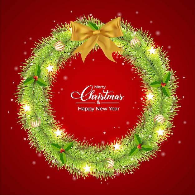 Świąteczny zielony wieniec z kulkami świetlnymi w kształcie gwiazdy zielony wieniec