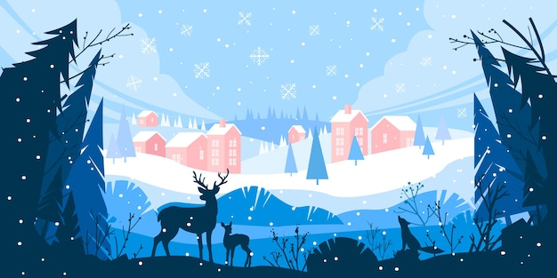 Świąteczny zimowy krajobraz z zaspami śnieżnymi, górska wioska, las, sosny, renifery