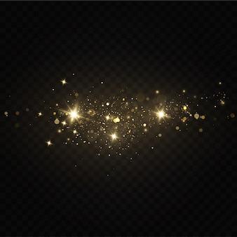 Świąteczny złoty pył, żółte iskry i złote gwiazdy lśnią specjalnym światłem. wektor mieni się błyszczącymi cząstkami magicznego pyłu.