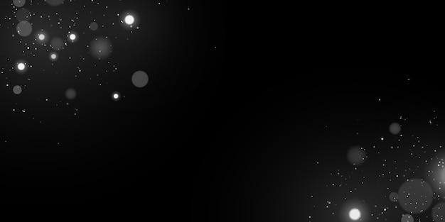 Światła bokeh. pioruny ze świecącymi cząsteczkami. efekt białego światła.