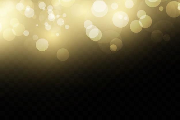 Światła bokeh. złote efekty świetlne.