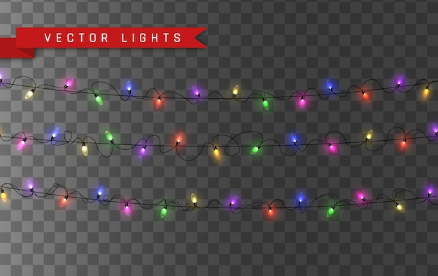 Światła. kolorowa, jasna girlanda świąteczna. kolorowe girlandy, czerwone, żółte, niebieskie i zielone żarówki świecące. neonowe świecące diody na przezroczystym tle. ilustracja