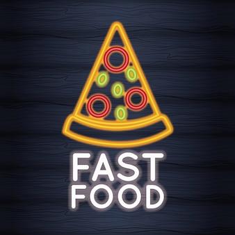 Światła neonów pizzy fast food