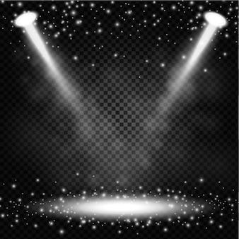 Światła punktowe z błyszczy na przezroczystym tle