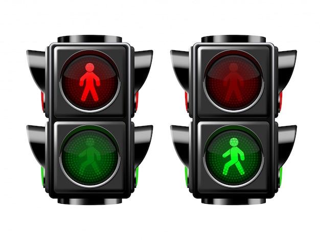 Światła ruchu pieszego czerwone i zielone. ilustracja na białym tle