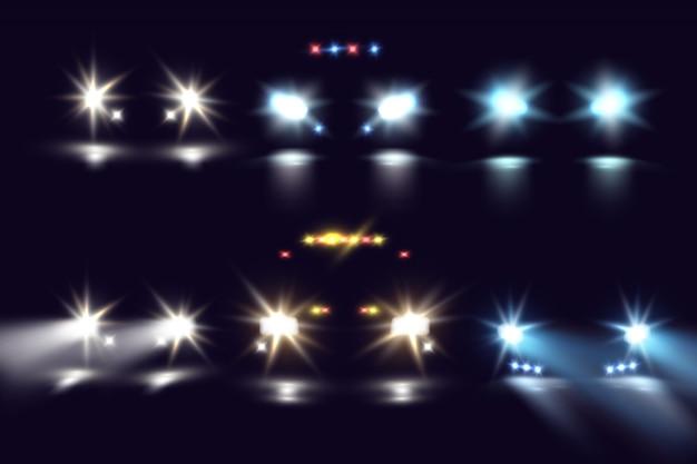 Światła samochodów w ciemności